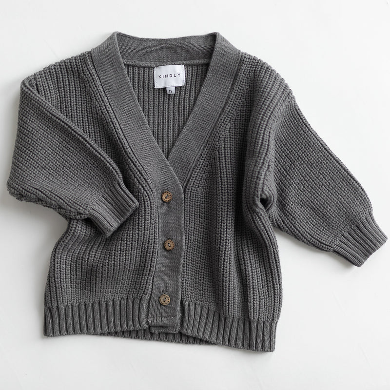 Los Unisex Oversize Button Cardigan Knit (Gravity Grey)