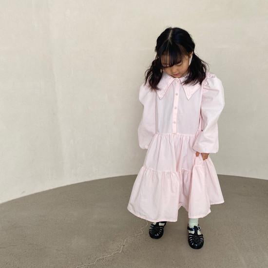 Statement Collar Tiered Shirt Dress (Rose)