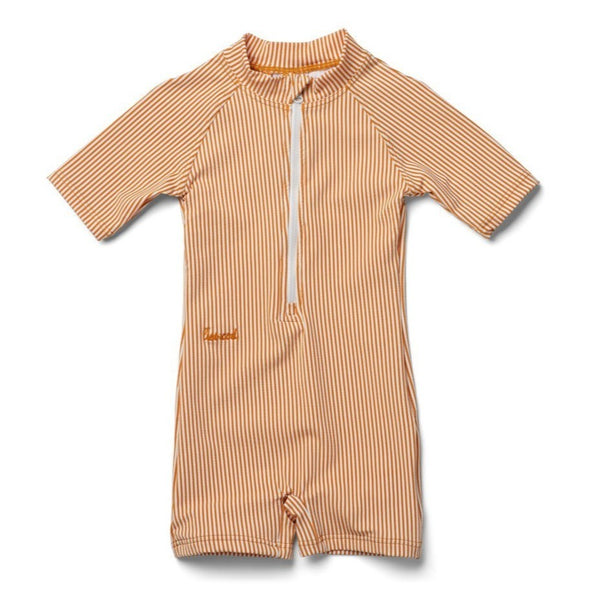 Max Swim Jumpsuit Seersucker (Mustard/White Stripe)