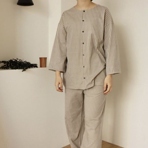 MAMA Breeze Checked Pyjamas (Beige Check)