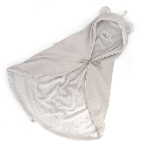 Bear Ear Fleece Organic Cotton Wrap Blanket (Cloud)