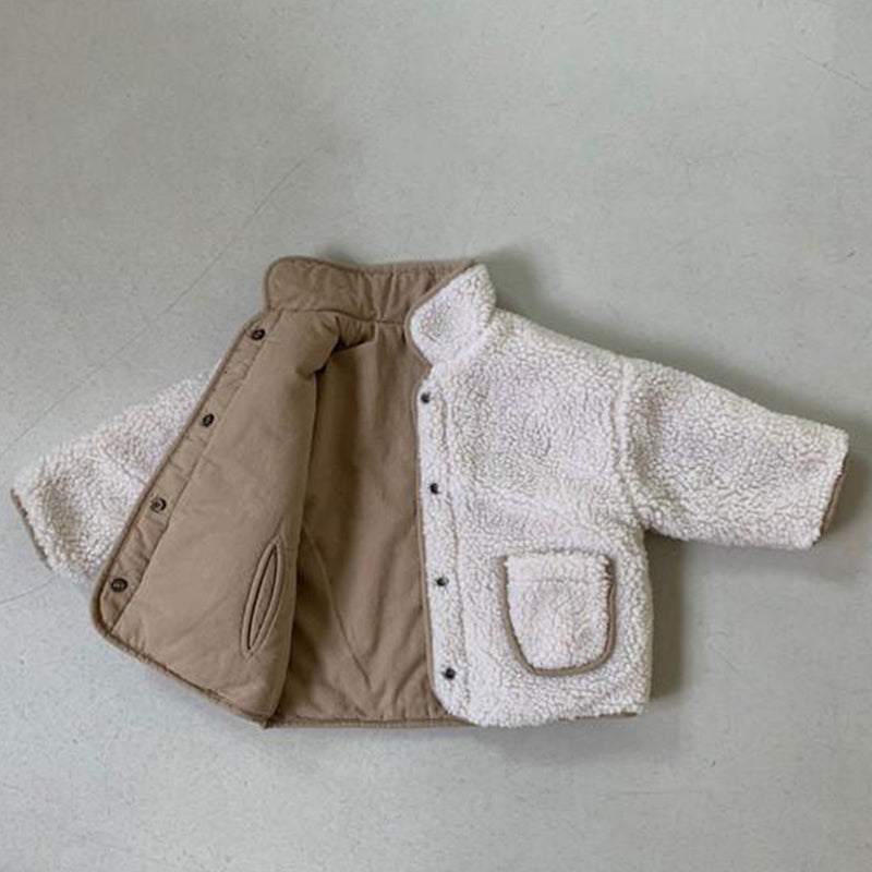 Kinio Reversible Padded Teddy Coat (Beige)
