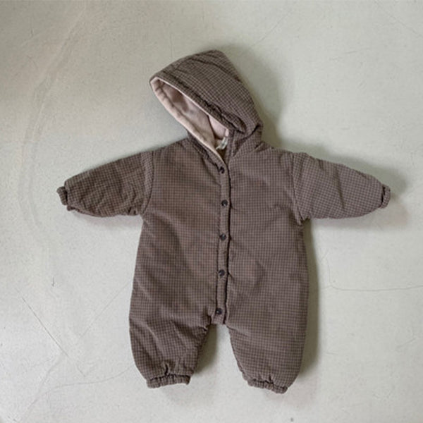 Inu Fine Corduroy Padded Hooded Check Coat Pramsuit (Cocoa)