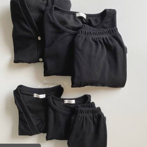 Ottie Top + Bottom + Cardigan 3 Piece Basics Set (Black)
