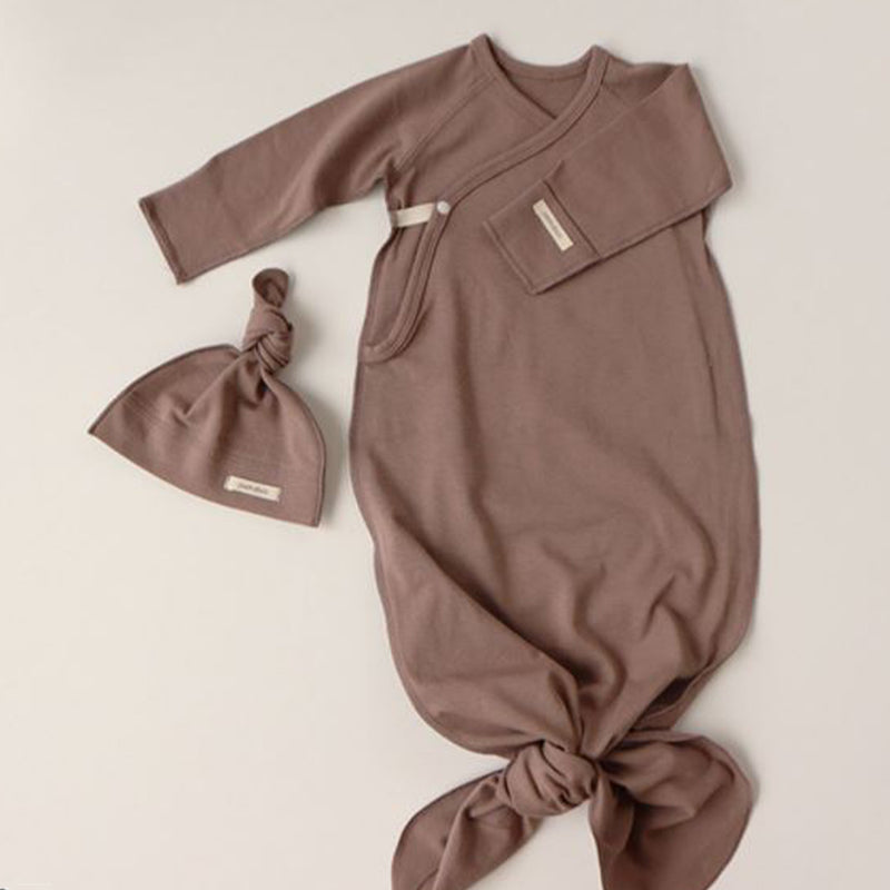 New Bebe Kimono Swaddle Suit with Knot Hat (Mocha)