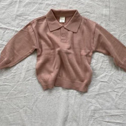 Ozzy Fine Knit Cotton Collar Knit Top (Blush)