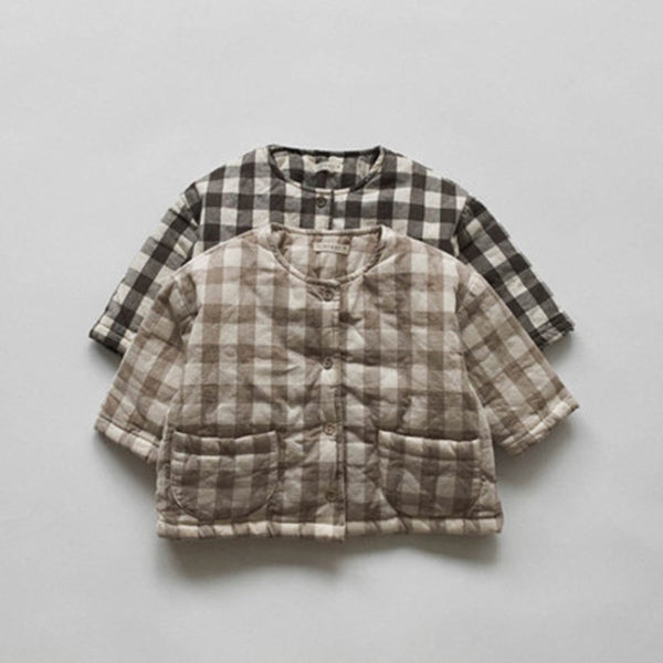 Wafo Padded Button Up Gingham Jacket (Beige)