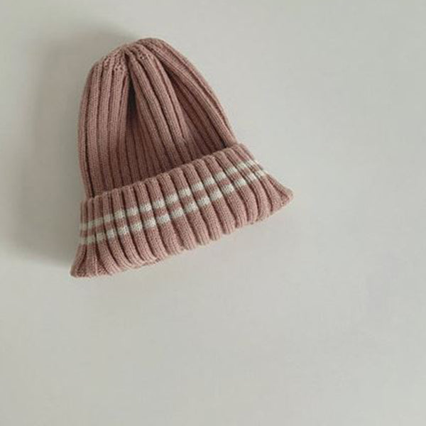 Weekly Stripes Knit Beanie (Clay Pink)