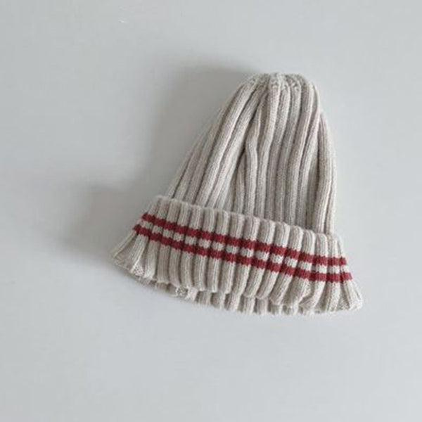Weekly Stripes Knit Beanie (Beige)