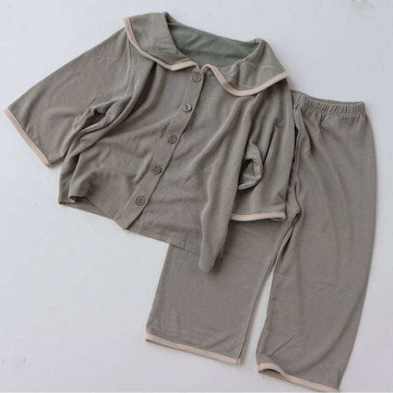 MAMA Ahoy Collar Button Down Pyjamas (Khaki)