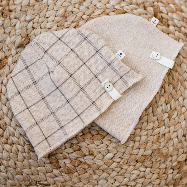 Honore Soft Check Beanie (Beige Check)