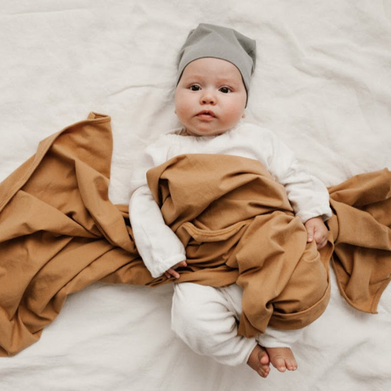 Extra Soft Jersey Cotton Large Swaddle/Blanket (Camel)