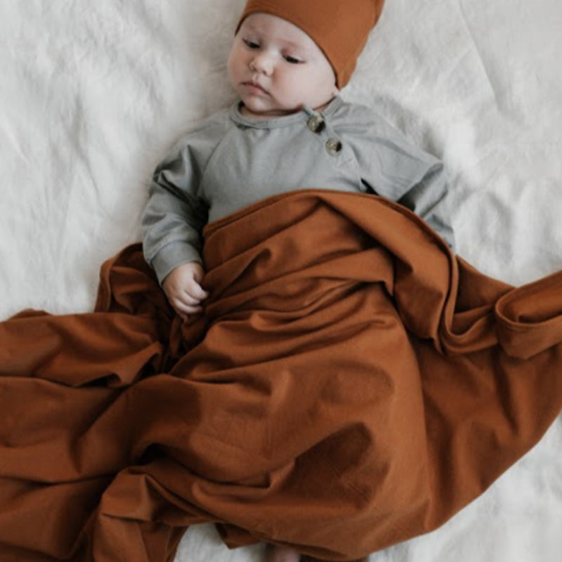 Extra Soft Jersey Cotton Large Swaddle/Blanket (Toffee Dune)
