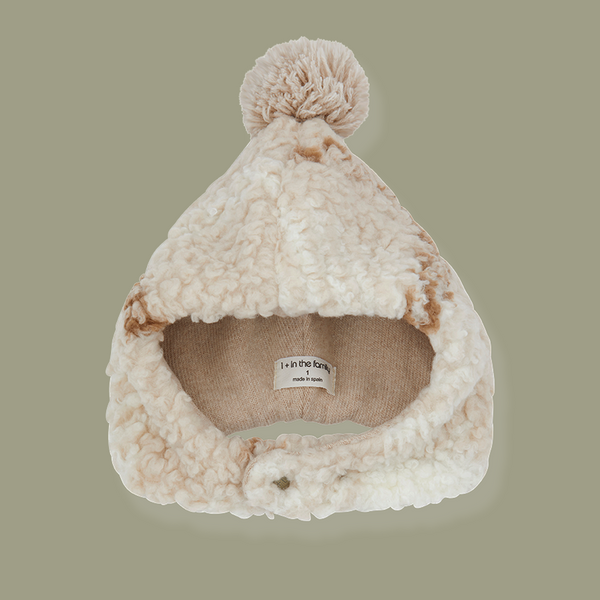 Tabatha Pile Hat (Cream/Toffee Check)