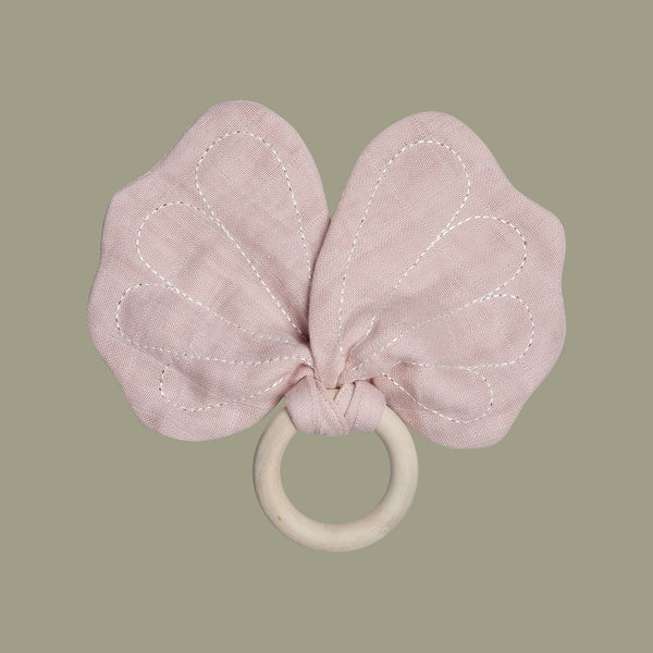 Mauve Butterfly Teether with Organic Cotton