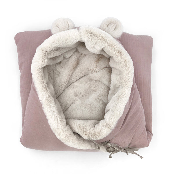 Bear Fleece Organic Cotton Nest with Harness Openings (Blush)