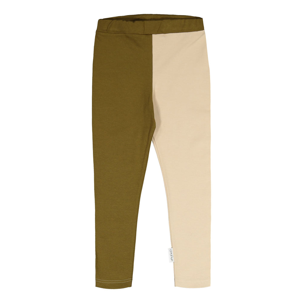 gugguu 2-Color Leggings Leggings Olive Green / Vanilla Coffee 62