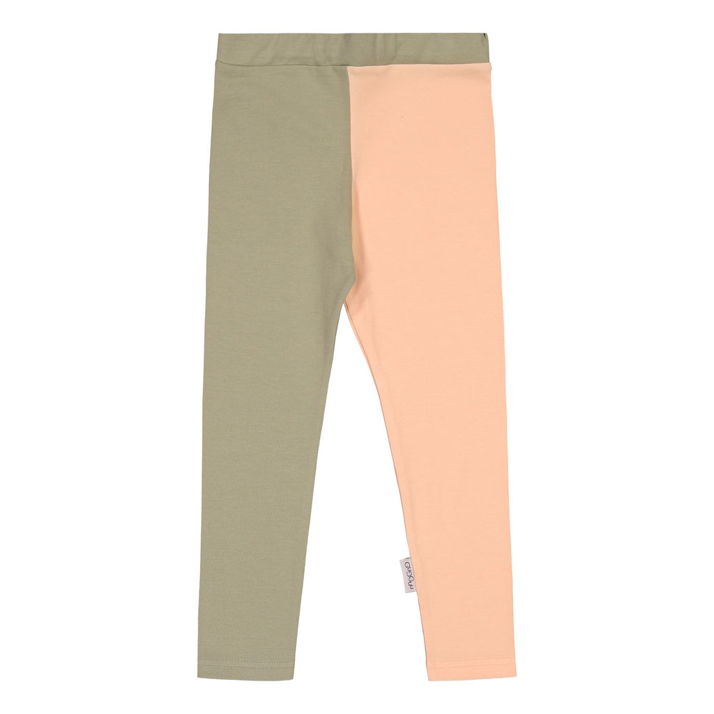 gugguu 2-Color Leggings Leggings Pale Sage / Love Apricot 80