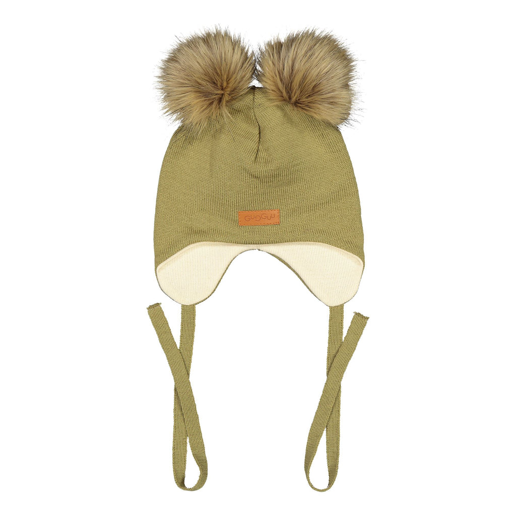 gugguu Double Furry Baby Beanie Headwear Sage Green XXXS
