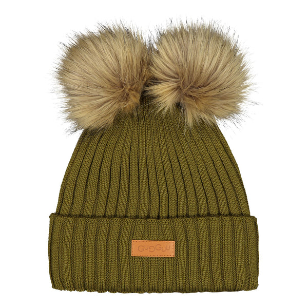 gugguu Double Furry Beanie Headwear Olive Green XS