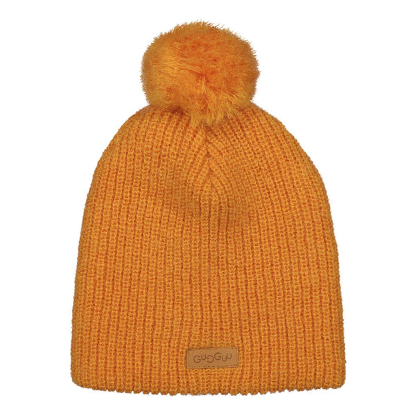 gugguu Mohair Beanie with tuft Headwear Tanned Yellow XS