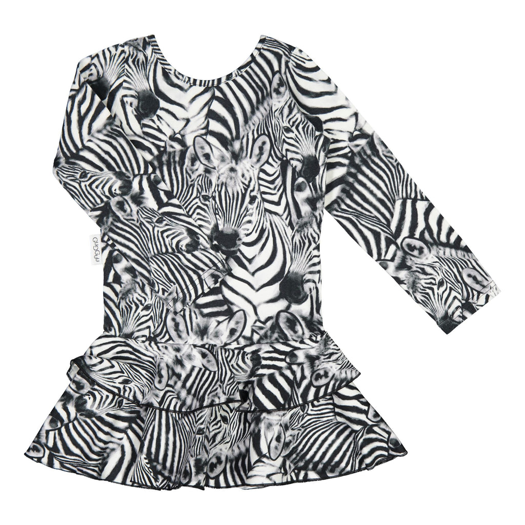 gugguu Print Frilla Dress Dresses Baby Zebra 74