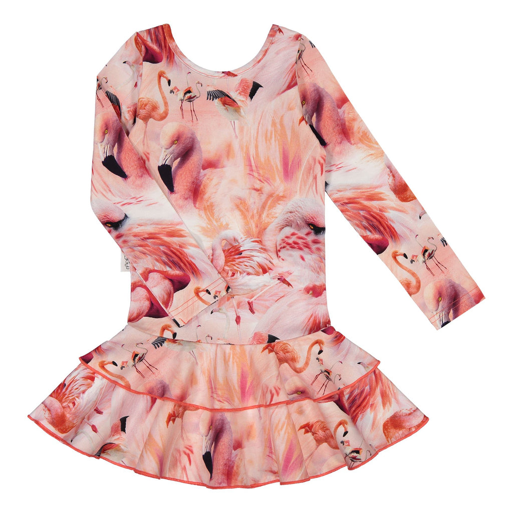gugguu Print Frilla Dress Dresses Flamingos 74