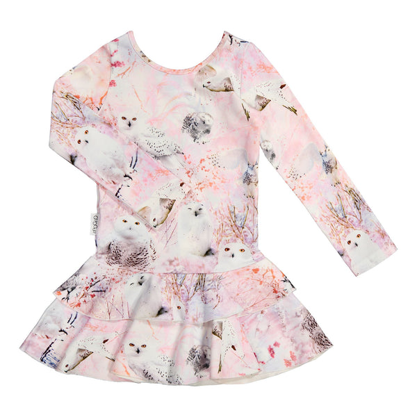 gugguu Print Frilla Dress Dresses White Owls 62