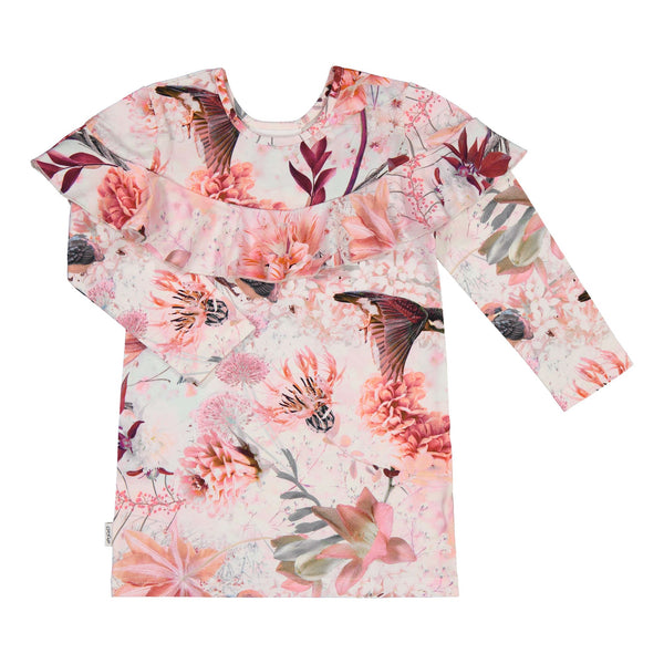 gugguu Print Kaila Dress Dresses Pink Hummingbirds 80/1Y