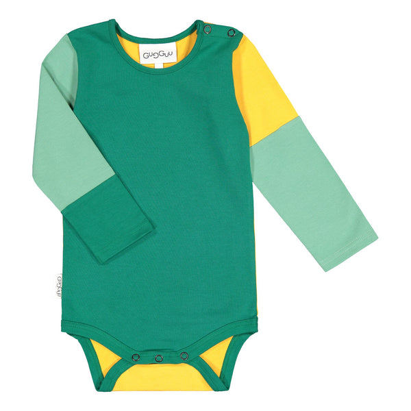 gugguu Rim Bodysuit Bodysuits Jungle Green / Sun Gold / Eucalyptus 80