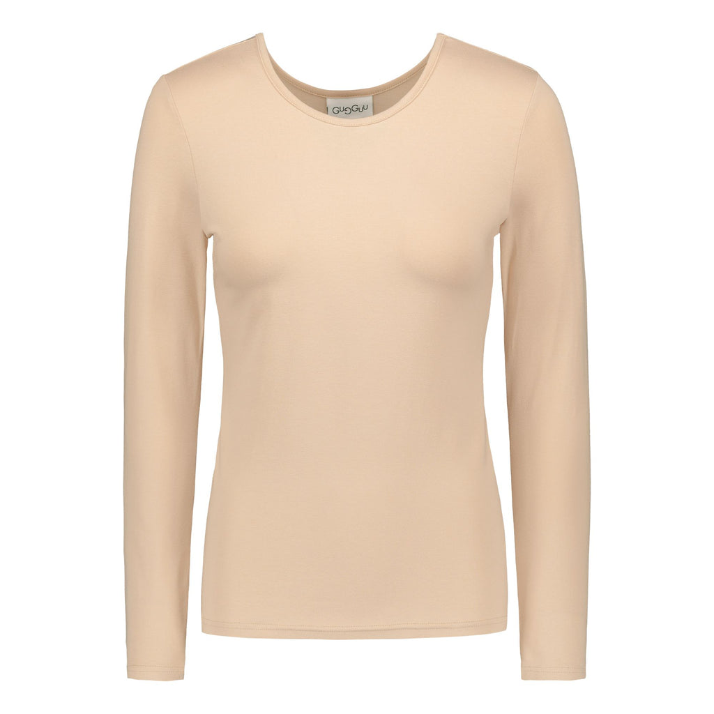 gugguu Women's Basic LS Shirt Women's tops Vanilla Coffee XXS