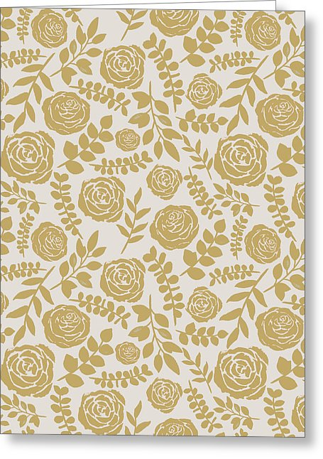 Gold Floral Pattern - Greeting Card