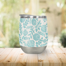 Load image into Gallery viewer, Baby Blue Floral Pattern Stemless Wine Tumbler