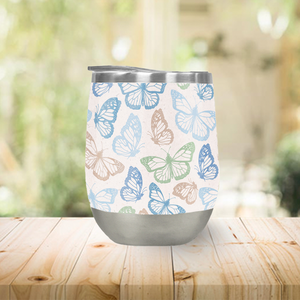 Blue Butterfly Stemless Wine Tumblers