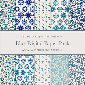 Blue Digital Paper Pack