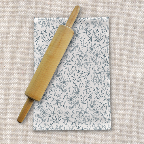 Blue Gray Flower Tea Towel