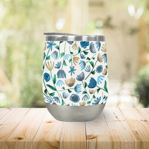 Blue Floral Pattern Stemless Wine Tumbler