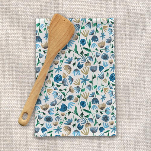 Blue Floral Tea Towel