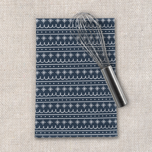 Load image into Gallery viewer, Blue Snowflake Pattern Tea Towel