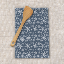 Load image into Gallery viewer, Blue Snowflakes Tea Towel