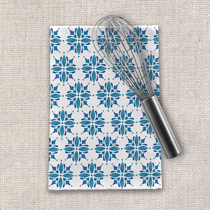 Blue Watercolor Tile Tea Towel