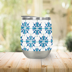 Blue Watercolor Tile Stemless Wine Tumbler