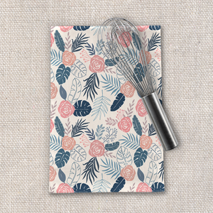 Blue and Blush Tropical Floral Tea Towel
