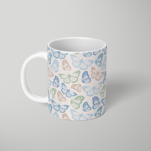Blue Butterfly Pattern - Mug