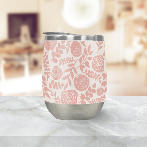 Blush Floral Pattern Stemless Wine Tumbler