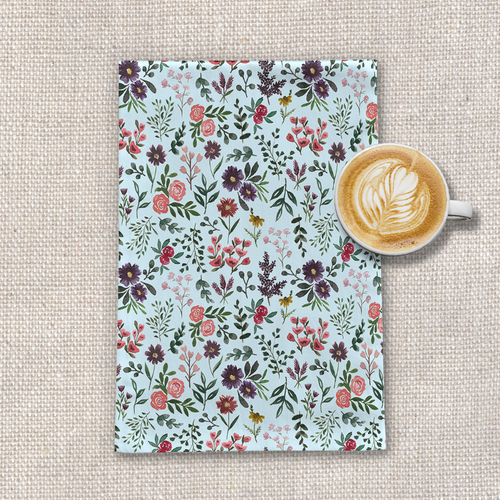 Bright Watercolor Flower - Blue - Tea Towel