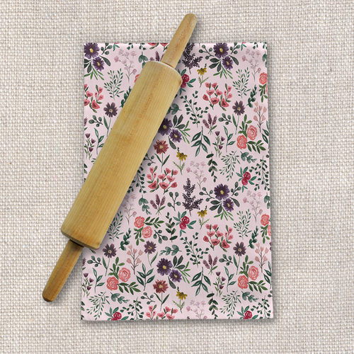 Bright Watercolor Flower - Pink - Tea Towel