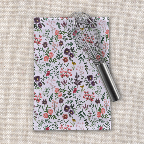 Bright Watercolor Flower - Purple - Tea Towel