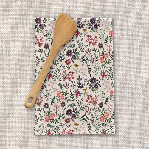 Bright Watercolor Flower Tea Towel