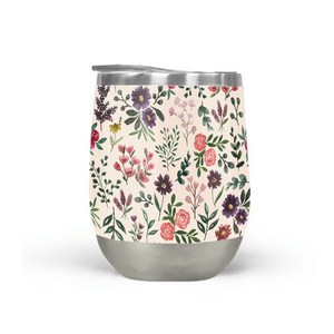 Bright Watercolor Flower Stemless Wine Tumbler